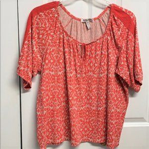 Inspired Blouse Size XLP Orange & Beige